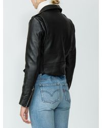 Re/done - Black Moto Racer Leather Jacket - Lyst