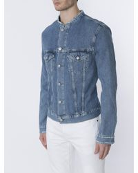 Acne - Blue 'who Ind Frey' Distressed Denim Jacket for Men - Lyst