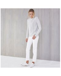 The White Company - Gray Zip Shoulder Cable Sweater - Lyst