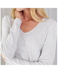 6054ef6cb The White Company Textured Stitch Swing Sweater in Gray - Lyst