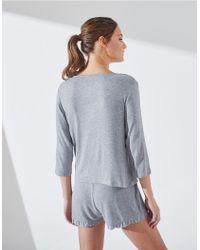 The White Company Gray Ruffle Trim Pyjama Set