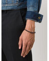 Henson - Black Beads And Carved Links Bracelet for Men - Lyst