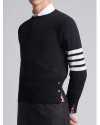Thom Browne - Iconic Stripe Classic Black Knit Crew Neck Jumper for Men - Lyst