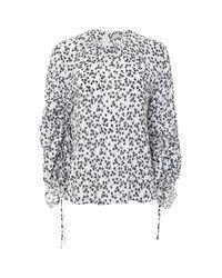 Tibi | Blue Lila Floral Tie Sleeve Top | Lyst