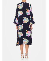 Tibi - Blue Camellia On Silk Button Front Dress - Lyst
