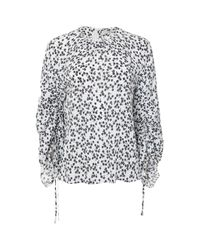 Tibi - Blue Lila Floral Tie Sleeve Top - Lyst