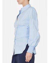 Tibi - White Satin Poplin Shirt With Removable Corset - Lyst