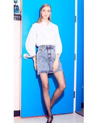 Tibi - Blue Acid Wash Mini Skirt - Lyst