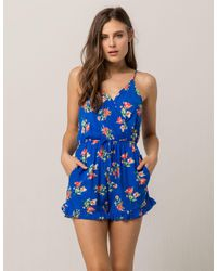 Mimi Chica - Blue Floral Tie Back Womens Romper - Lyst