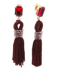 Tj Maxx - Multicolor Tassel Earrings With Stone Stud - Lyst