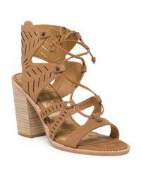 Tj Maxx - Brown Lace Up Lazer Cut Nubuck Leather Sandals - Lyst