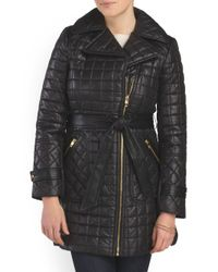 Tj Maxx - Black Quilted Jacket With Belt - Lyst
