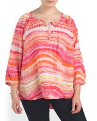 Tj Maxx - Pink Plus Linen Smocked Neck Shirt - Lyst