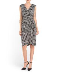 Tj Maxx - Black Printed Ruched Dress - Lyst