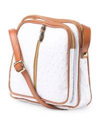 Tj Maxx - White Made In Italy Leather Triple Entry Crossbody - Lyst
