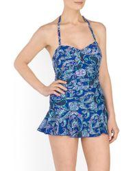 Tj Maxx - Blue Paisley Printed Bandeau Swimdress - Lyst