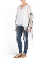 Tj Maxx - White Embroidered Poncho With Fringe - Lyst