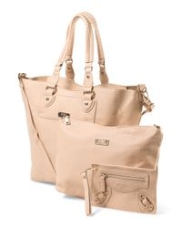 Tj Maxx - Natural 3pc Convertible Tote With Pouch - Lyst
