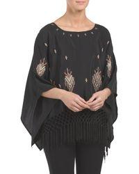 Tj Maxx - Black Fringe Detail Kimono Sleeve Top - Lyst