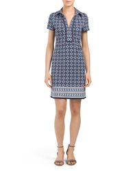 Tj Maxx - Blue Curly Vine Printed Collared Dress - Lyst