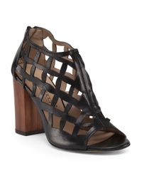 Tj Maxx - Black Made In Italy Leather Cage High Heel Sandal - Lyst