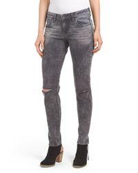 Tj Maxx - Gray Dark Wash Skinny Destructed Jean - Lyst