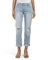 Tj Maxx - Blue Light Wash Cuffed Boyfriend Jean - Lyst