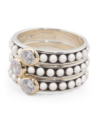 Tj Maxx - Metallic 14k Yellow Gold And Sterling Silver Cubic Zirconia Set Of 3 Stacking Rings - Lyst