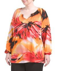Tj Maxx - Orange Plus Floral Top With Chain Detail - Lyst