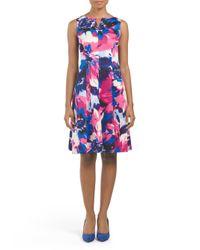 Tj Maxx - Pink Sleeveless Scuba Floral Print Dress - Lyst