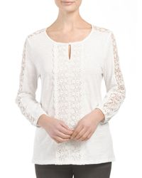 Tj Maxx - White Three Quarter Sleeve Lace Center Top - Lyst
