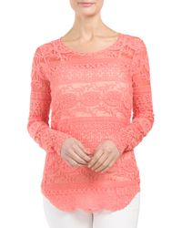 Tj Maxx - Pink Embroidered Mesh Top - Lyst