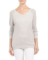 Tj Maxx - Gray Three Quarter Sleeve All Over Pointelle Sweater - Lyst