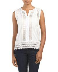 Tj Maxx - White Sleeveless Crochet Inset Top - Lyst