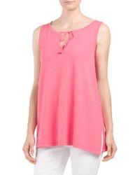 Tj Maxx - Pink Split Neck Tassel Sweater Tank - Lyst