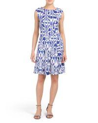 Tj Maxx - Blue Printed Fit And Flare Dress - Lyst
