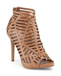 Tj Maxx - Brown Chop Out Peep Toe Bootie - Lyst