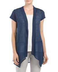 Tj Maxx - Blue Crochet Back Mixed Media Cardigan - Lyst