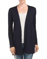 Tj Maxx - Blue Cardigan With Button Sleeve Detail - Lyst