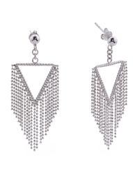 Tj Maxx - Metallic Sterling Silver Fringe Chain Earrings - Lyst