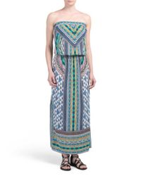 Tj Maxx - Blue Printed Strapless Maxi Dress - Lyst