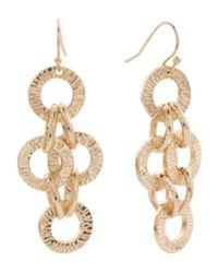 Tj Maxx - Metallic Textured Multi Link Statement Earrings In Gold Tone - Lyst