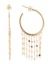 Tj Maxx | Metallic Made In Italy 14k Gold Mirror Chain Fringe Hoop Earrings | Lyst