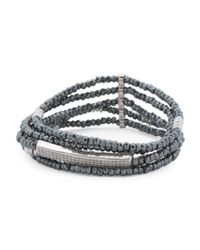 Tj Maxx | Metallic Silver Plated Hematite Cubic Zirconia Stretch 5 Row Bracelet | Lyst
