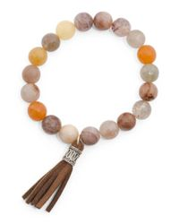 Tj Maxx - Metallic Sterling Silver Multi Color Agate Leather Stretch Bracelet - Lyst