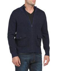 Tj Maxx - Blue Zip Mock Neck Wool Plaited Cardigan for Men - Lyst