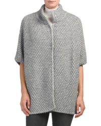 Tj Maxx - Gray Made In Italy Honeycomb Snap Front Poncho - Lyst