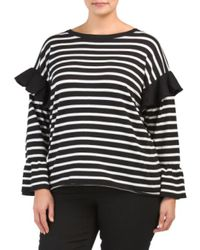 Tj Maxx - Black Plus Striped Bell Sleeve Top - Lyst