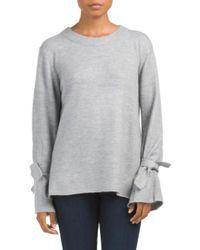 Tj Maxx - Gray Tie Bell Sleeve Crew Neck Sweater - Lyst