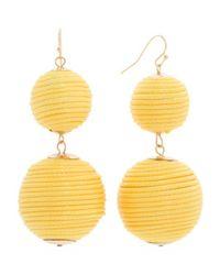Tj Maxx - Yellow Handmade Thread Wrapped 2 Tier Ball Earrings - Lyst